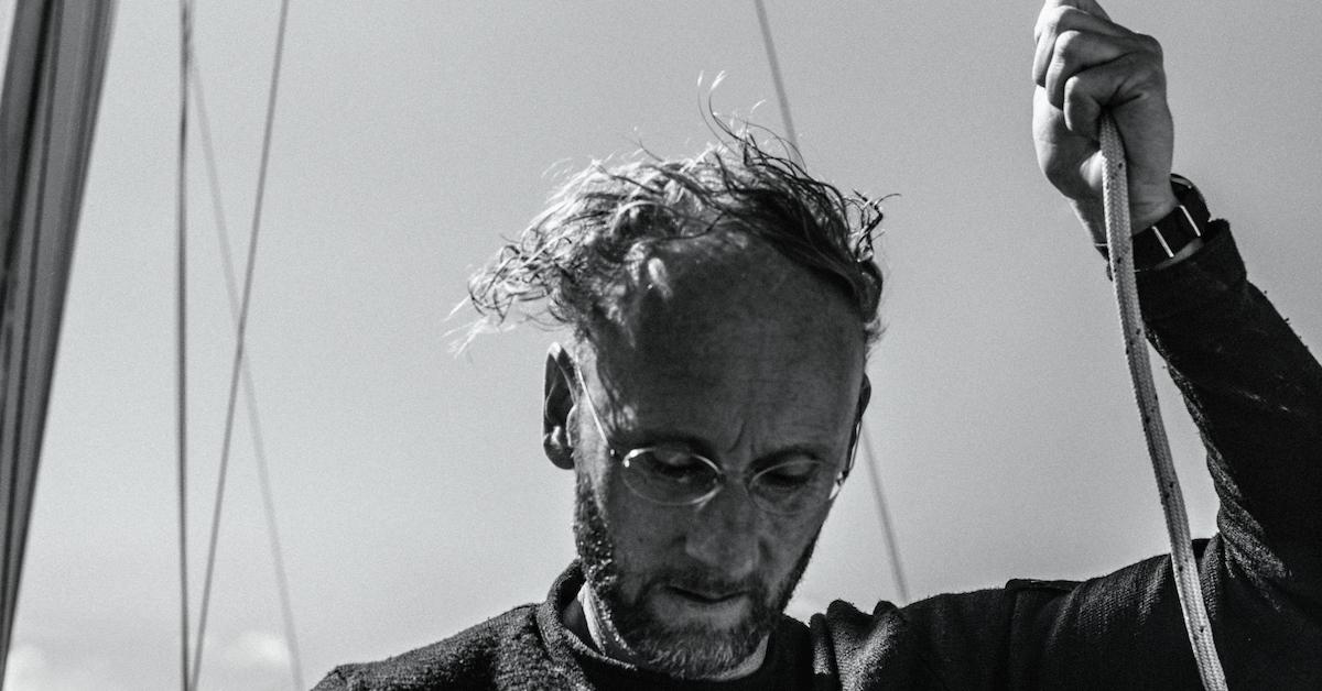 Portret Marc Lichte med jadranjem. Črno-bela slika