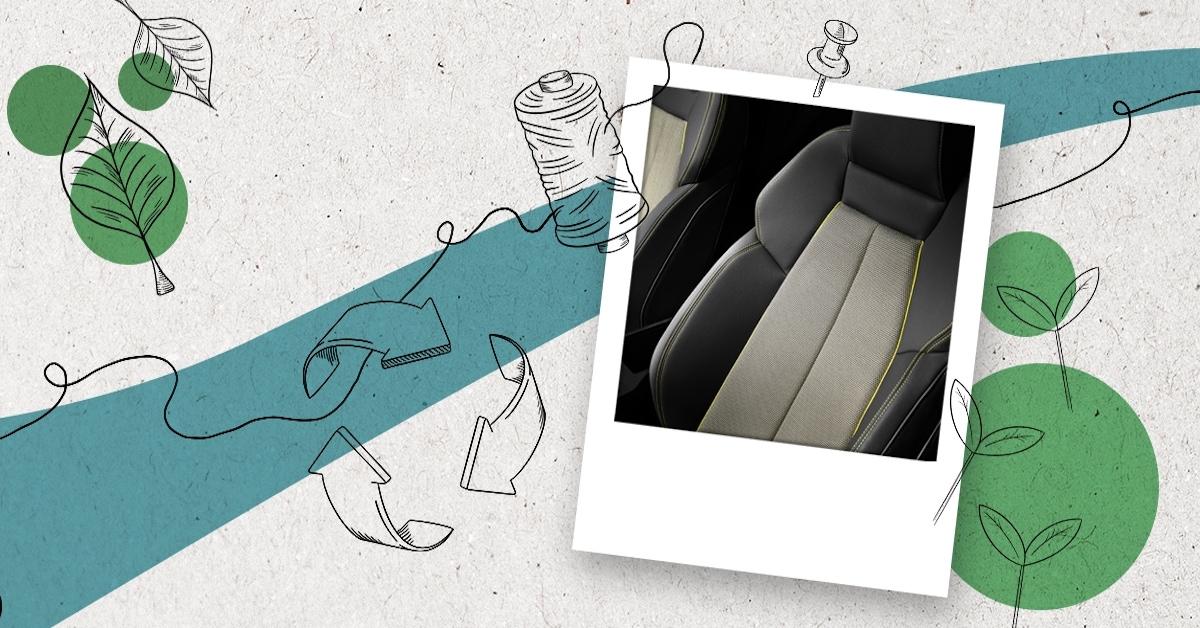 Grafika modre in bele barve. Na sliki v grafiki je bel avtomobilski sedež.