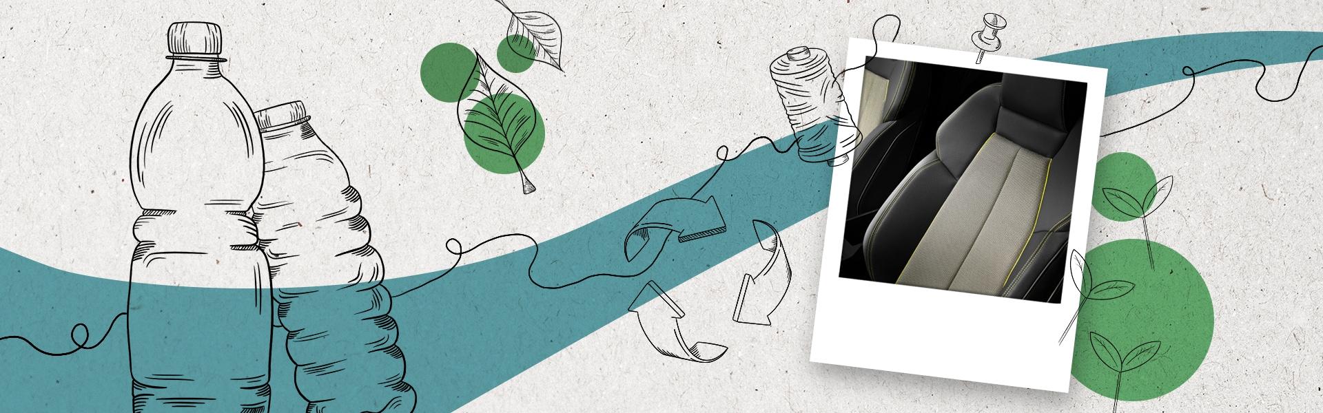 Naslovna belo-modra-zelena slika. Znotraj slike, polaroid z Audi A3 sedežem