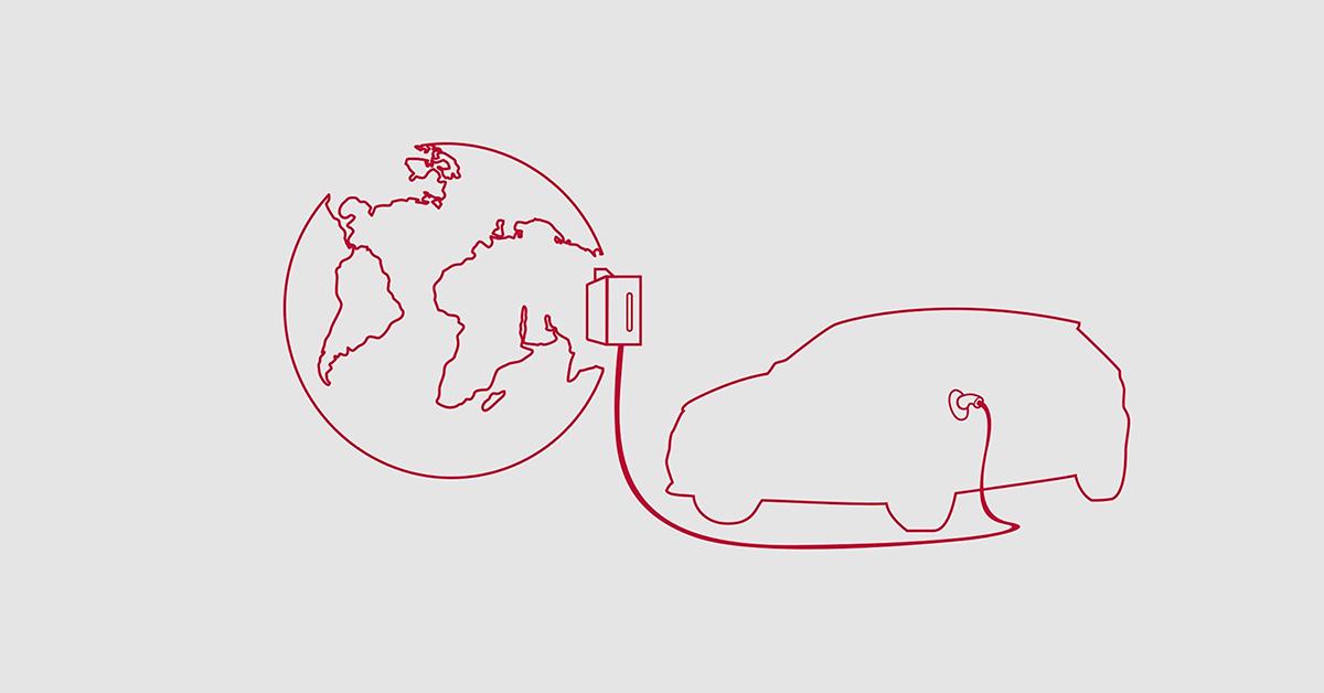 Prostoročno, z rdečoim svinčnikom narisan svet, na katerega je s polnilcem priključena silhueta avtomobila. Na sivi podlagi.
