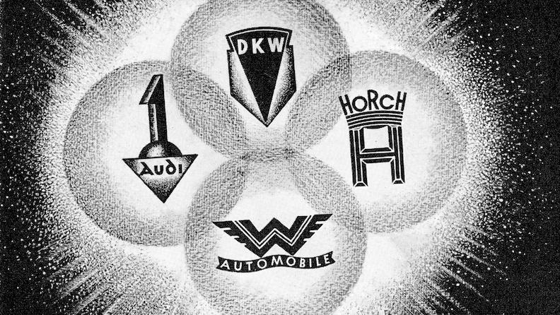 Grafika štirih logotipov firm, ki so postale Audi