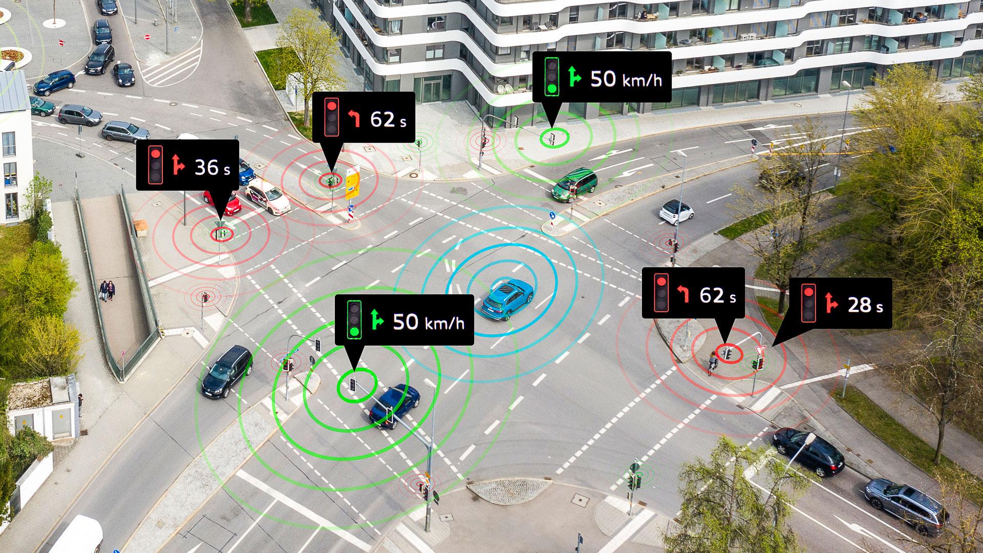Grafika avtomobilov, ki so med seboj povezani in sodelujejo v prometu. Na križišču.