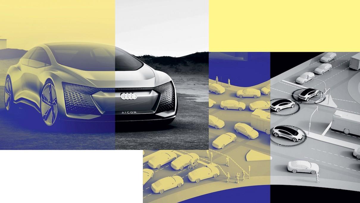 Futuristična grafika Audi avtomobila. Na isti sliki tudi Audi vozila prihodnosti na cesti.