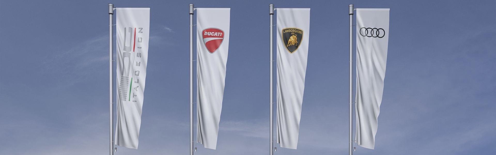 Bele zastave vseh firm koncerna Audi