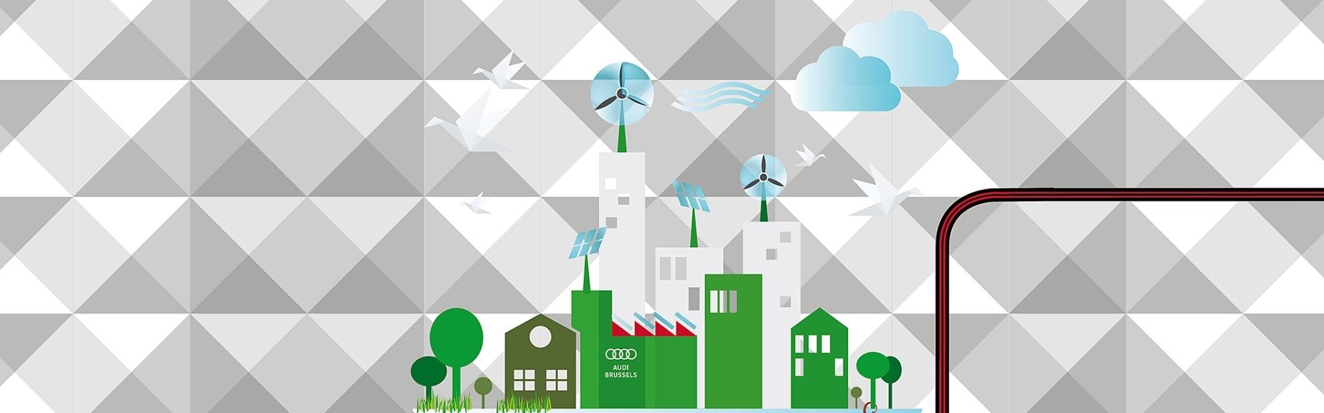 Zelena grafika mesta, ki ne onesnažuje okolja. Na sivi podlagi