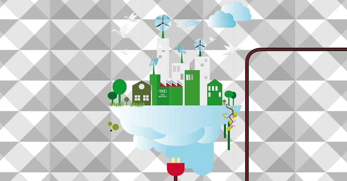 Grafika okoljsko ozaveščenega mesta na sivi podlagi. Spodaj je rdeč vtikač, ki polni mesto z elektriko.