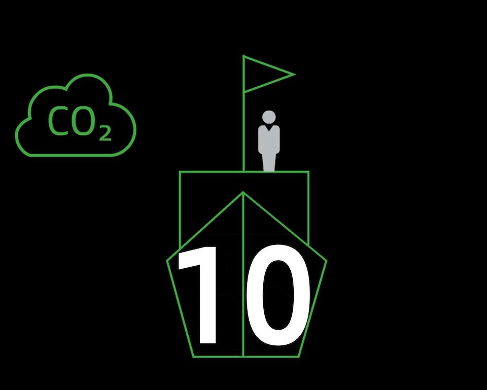 Črna grafika s človekom, zastavico in številko deset. V ozadju oblaček ogljikovega dioksida