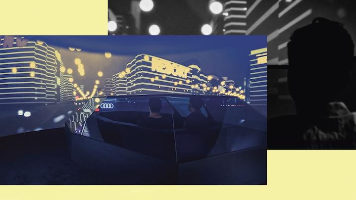 Notranjost futurističnega Audi vozila. Slika v modri in rumeni barvi
