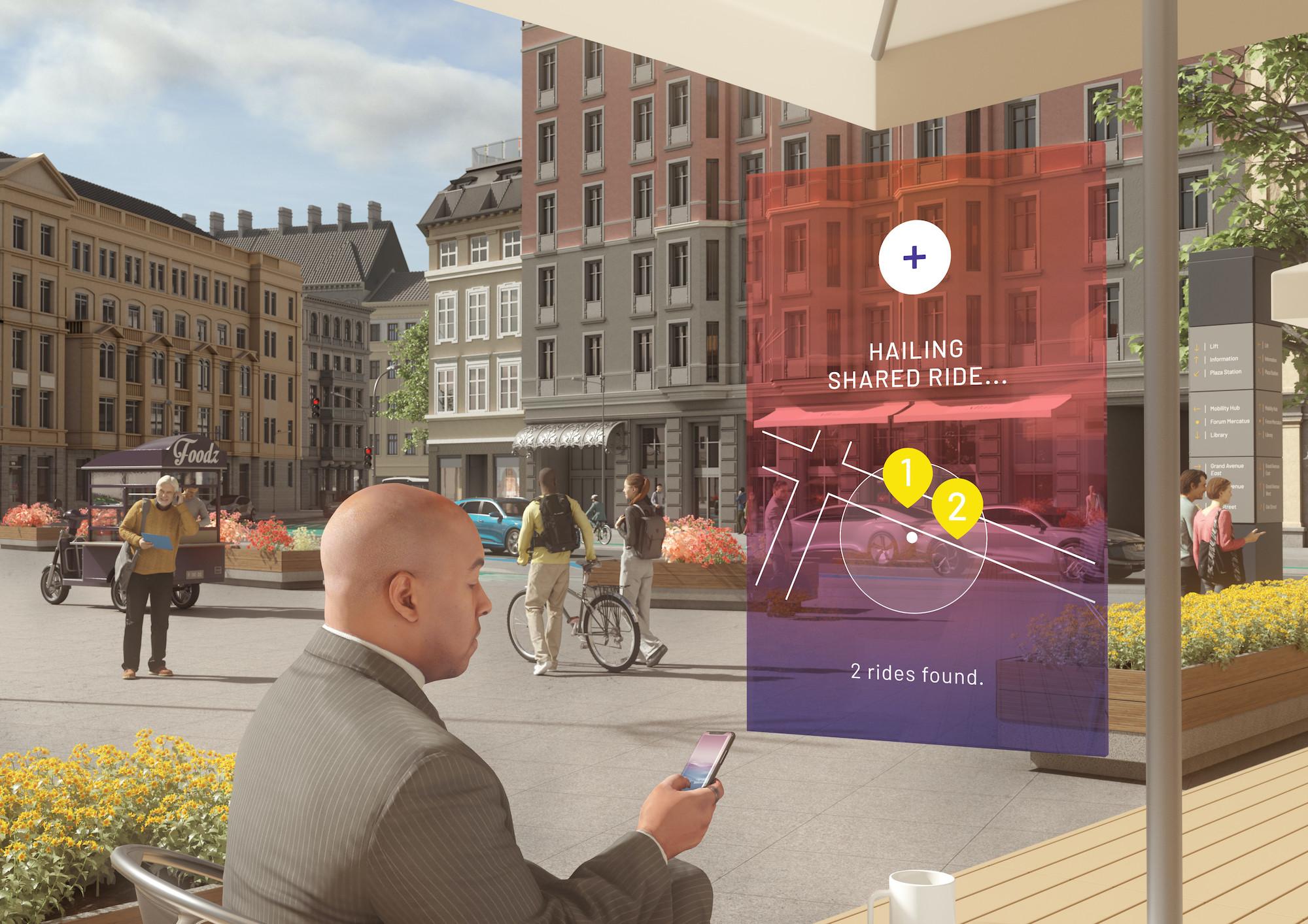 Grafika človeka pred interaktivno digitalno tablico, ki stoji ob prometnem znaku