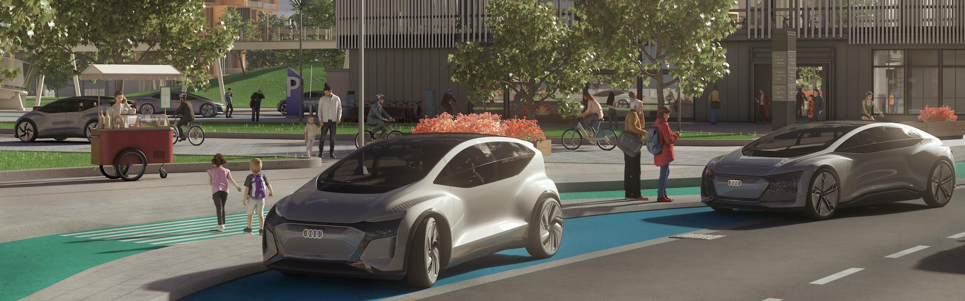 Grafika dveh futurističnih avtomobilov parkiranih ob cesti. V ozadju ljudje v parku