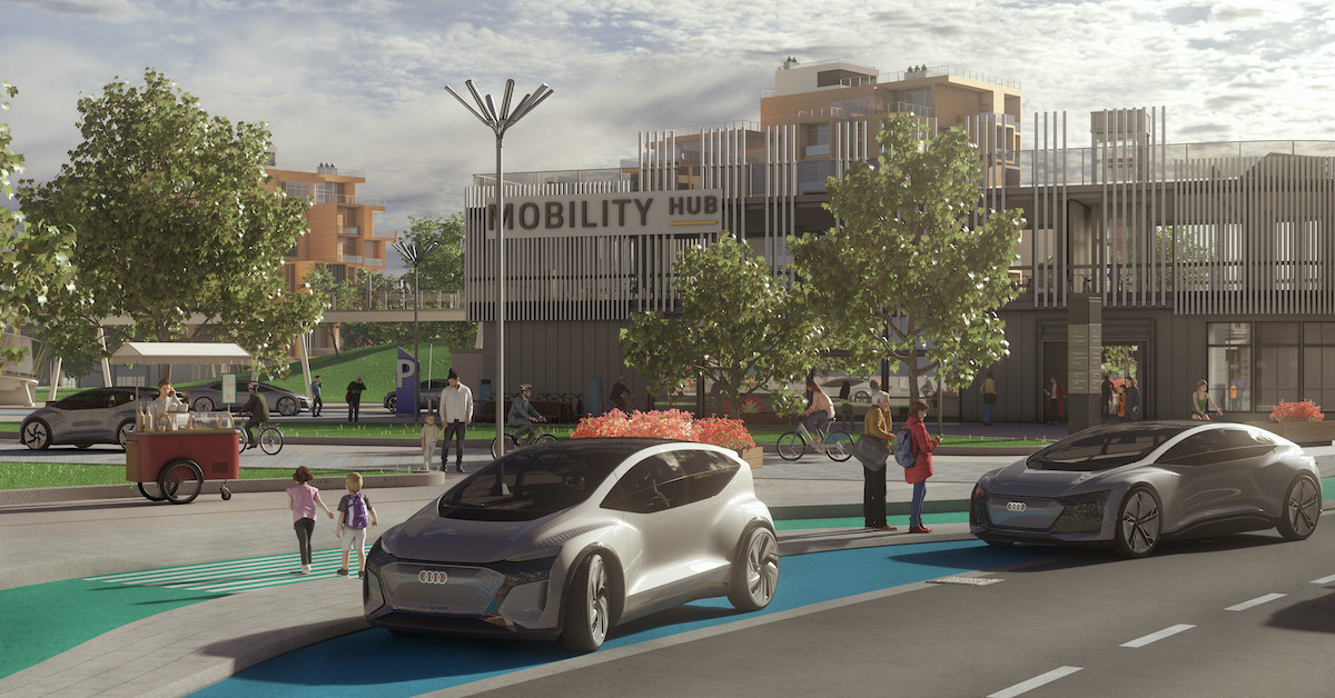 Grafika dveh futurističnih avtomobilov parkiranih ob cesti.