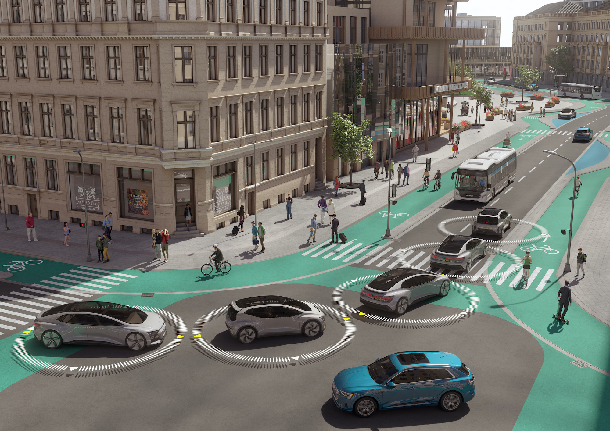 Grafika pametnih avtomobilov na cesti