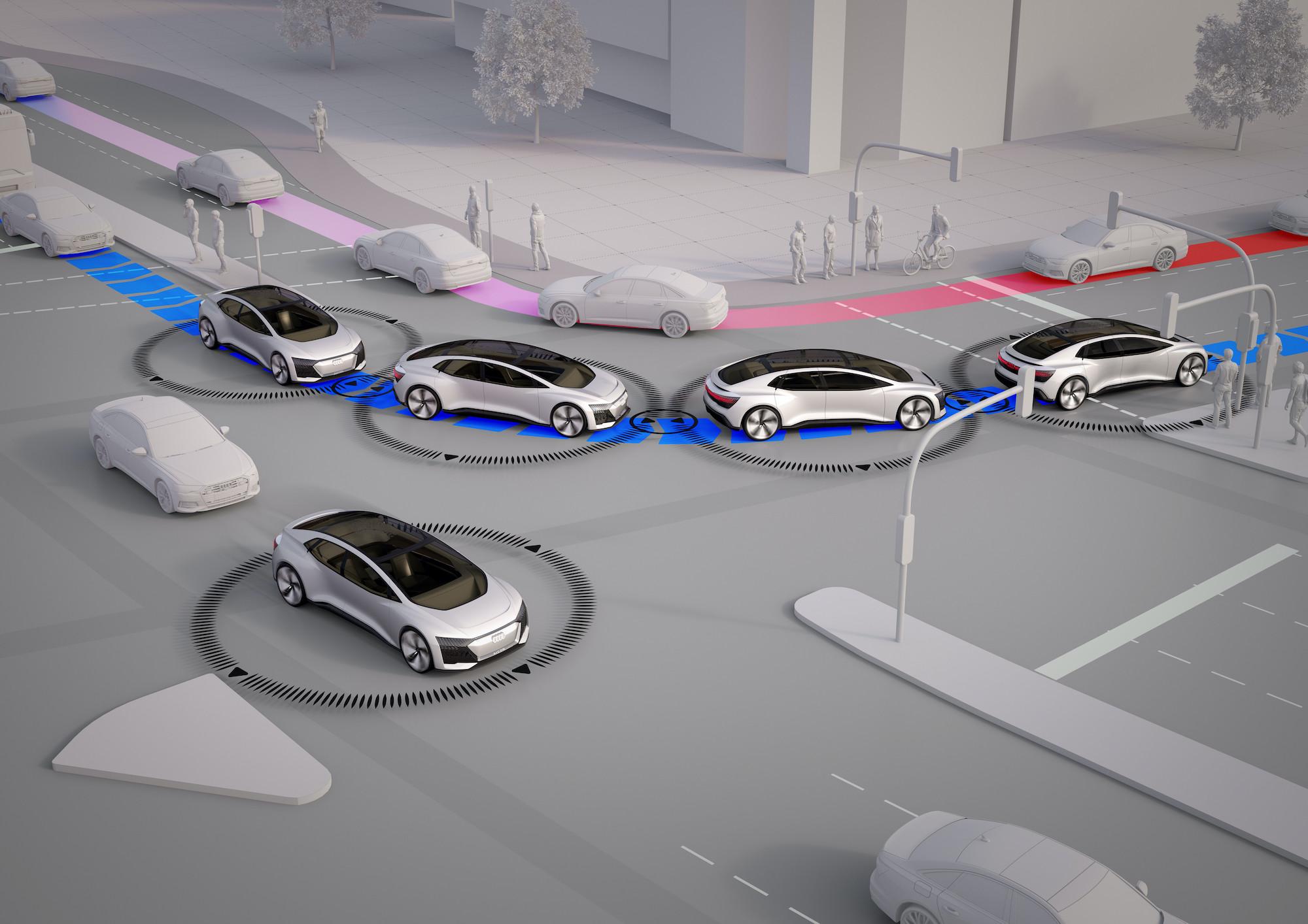 Grafika avtomobilov na cesti, kot jih vidi pametni prometni sistem