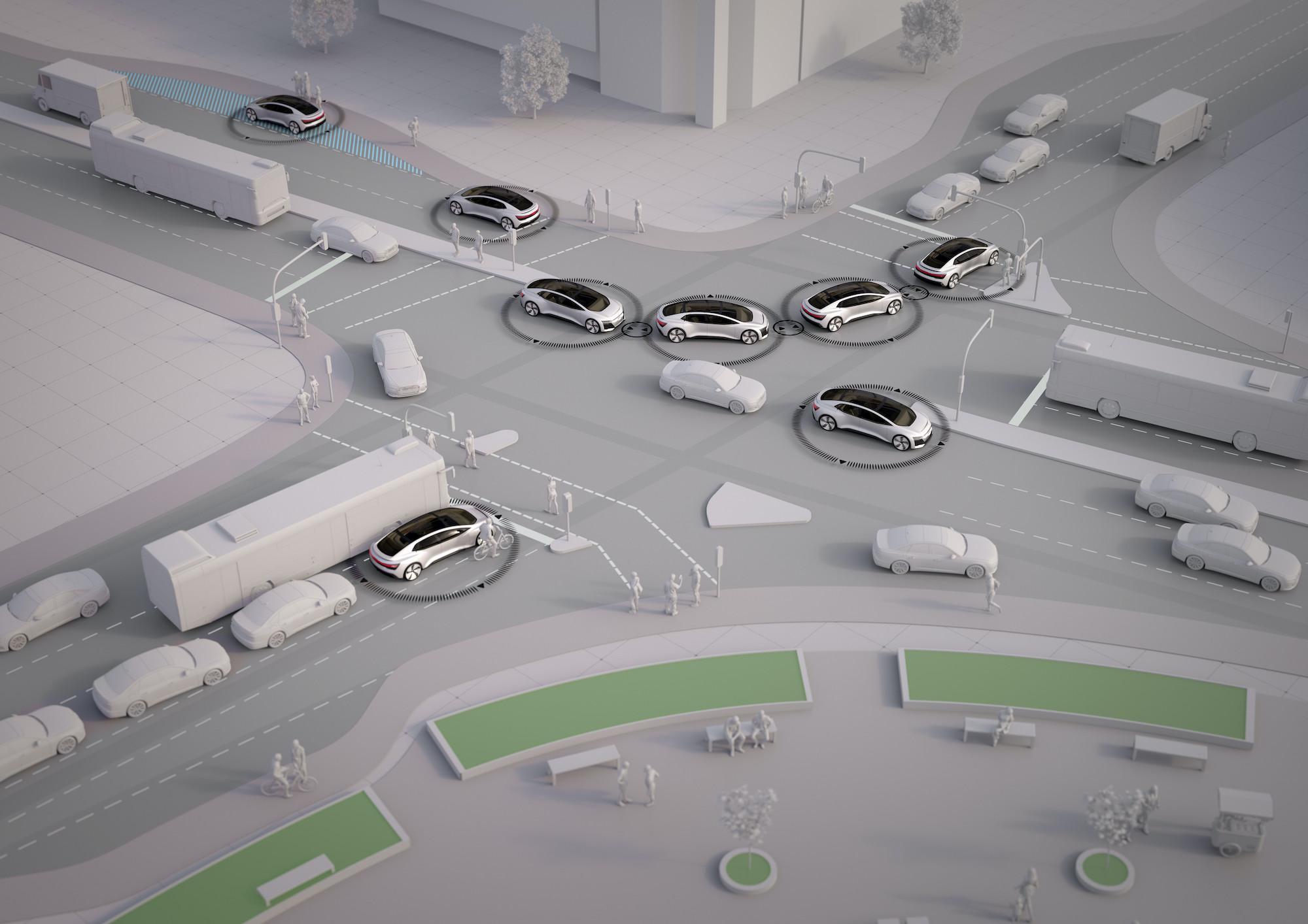 Križišče pametnih avtomobilov. Računalniška grafika