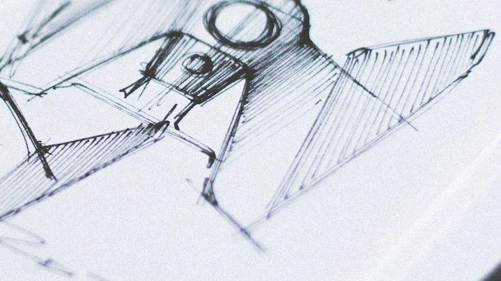 skica vesoljskega plovila TIE Fighter