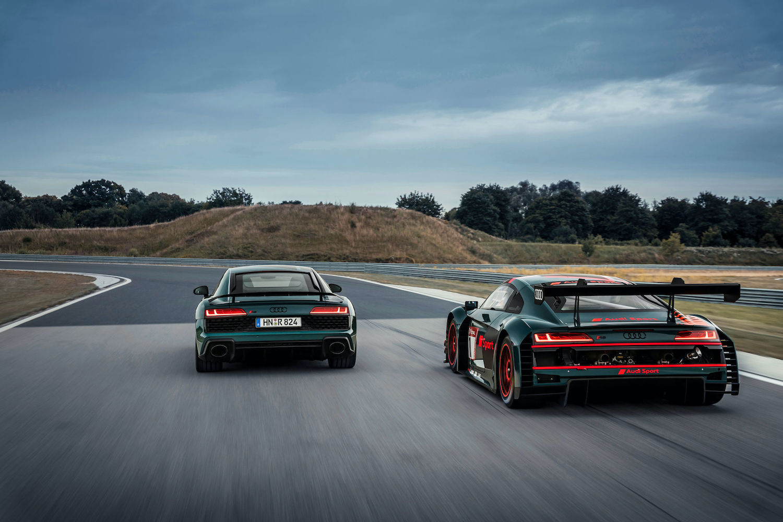Audi R8 green hell in Audi R8 LMS na dirkališču