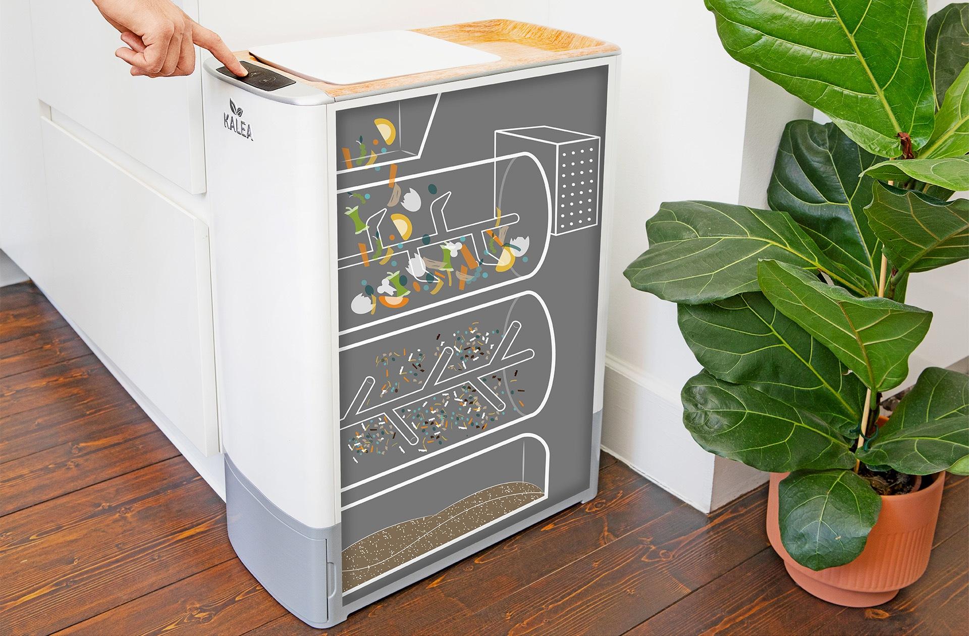 Pametna kuhinjska naprava Kalea v samo 48 urah spremeni organske odpadke v kompost, bogat s hranili. Predstavlja trajnostno rešitev za odlaganje kuhinjskih odpadkov v mestnih gospodinjstvih.
