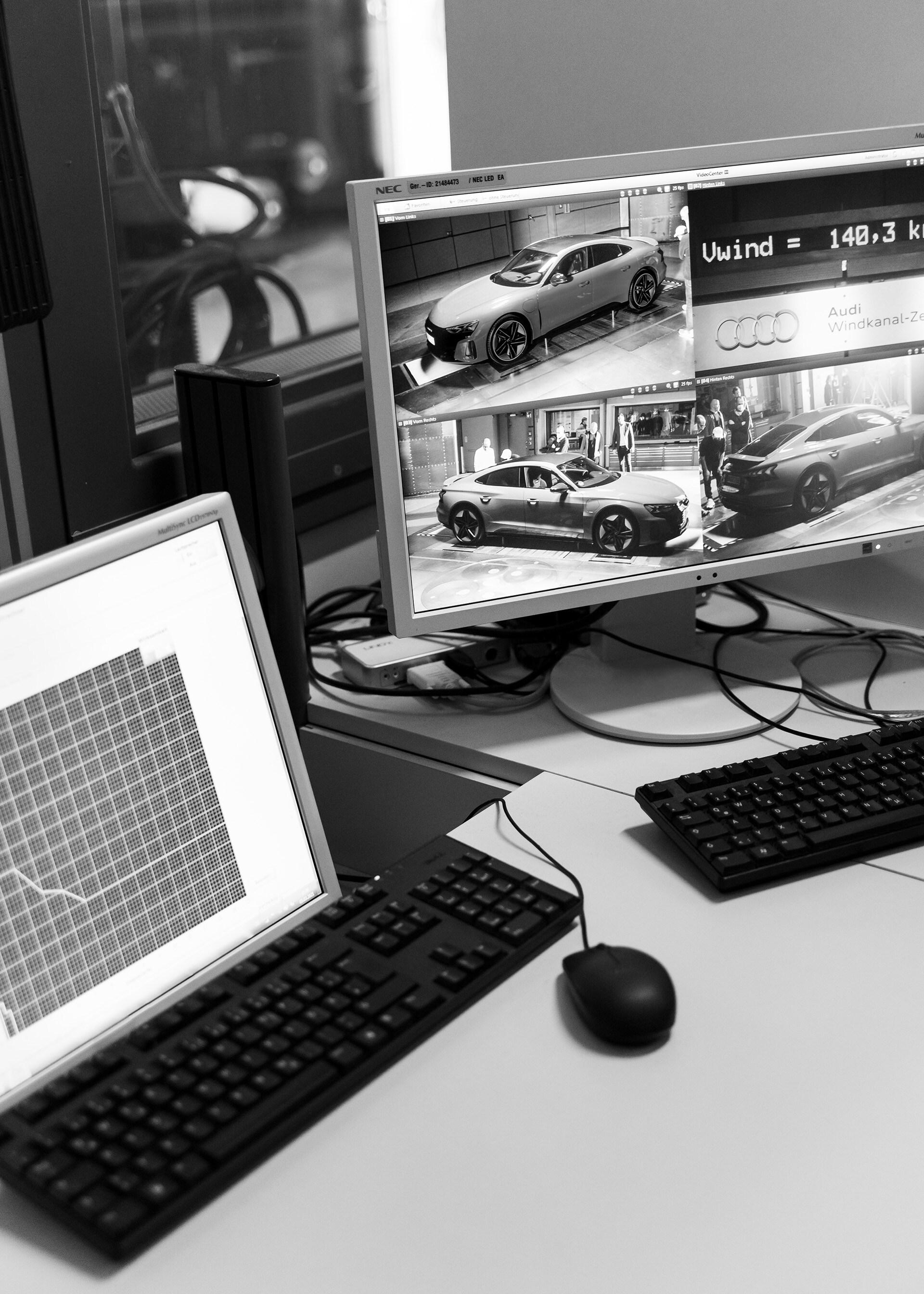 Strokovnjaki za aerodinamiko imajo na svojih delovnih postajah ves čas dostop do najbolj pomembnih podatkov o vozilu in vetrovniku