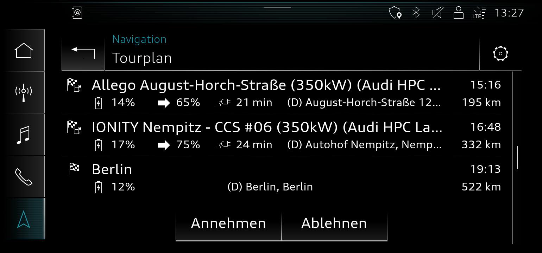 Audijev načrtovalnik poti za e-tron